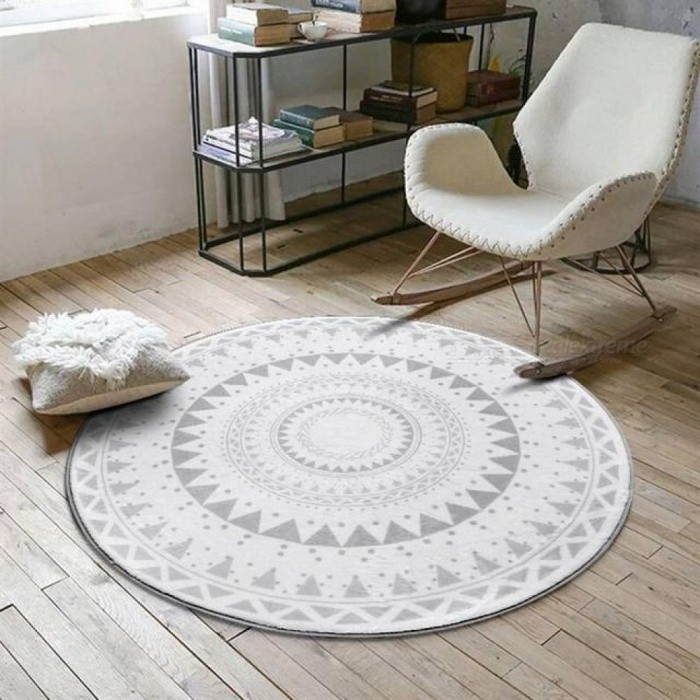 Nordic Gray Series Round Carpets for Living Room, Computer Chair Area Children Play Tent Floor Mat, Cloakroom Rug and Carpet