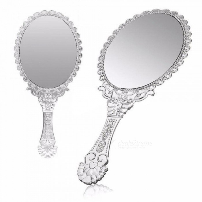25x9x12cm Ladies Vintage Repousse Floral Hand Held Oval Mirror Makeup Dresser Mirror ABS Plastic Mirror Silver for sale in Bitcoin, Litecoin, Ethereum, Bitcoin Cash with the best price and Free Shipping on Gipsybee.com