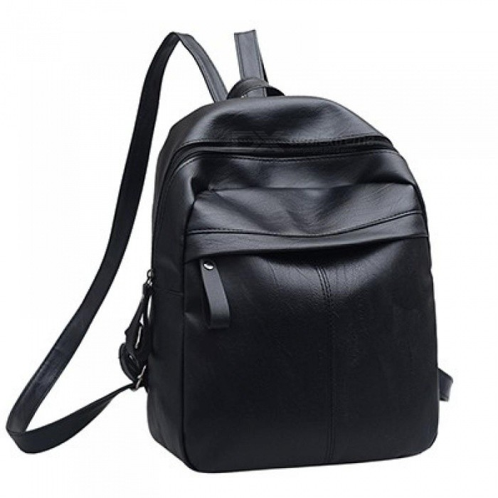 PU Leather Women Backpack Fashion Solid School Bags for Teenager Girls High Quality Casual Women Black Backpacks 26x12x31cm/Black