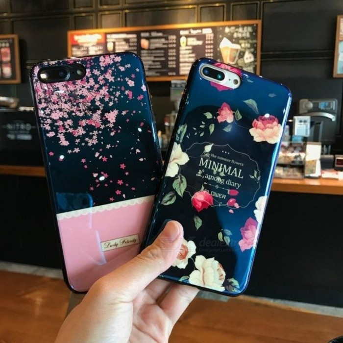 Reflective Blue Light Retro Sakura Flower Soft TPU Case for iPhone 6 6s 7 Plus Fancy Cute Artistic Back Phone Cover Cases for iphone 8/black