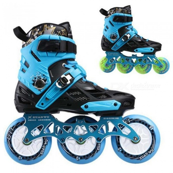 Skate-Professional-Adult-Roller-Skating-Shoes-4x803x110mm-Changeable-Slalom-Speed-Patines-Free-Skating-Racing-Skates-35Black-blue-color