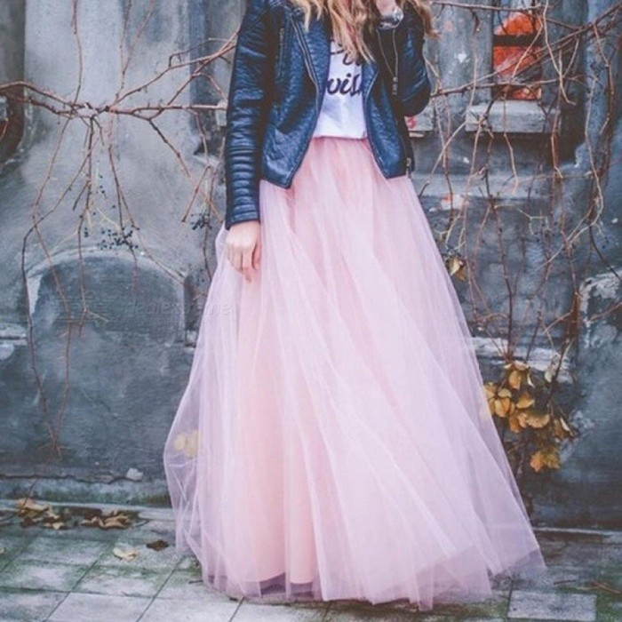 Spring Fashion Womens Lace Princess Fairy Style 4 Layers Voile Tulle Skirt Bouffant Puffy Fashion Long Tutu Skirts One Size