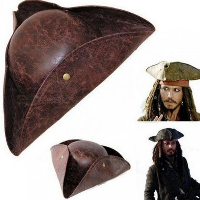 Faux-Leather-Mens-Pirate-Hat-Caribbean-Pirate-Hat-Halloween-Pirate-Hat-Costumes-Accessories-Halloween-Cap-Dark-Brown