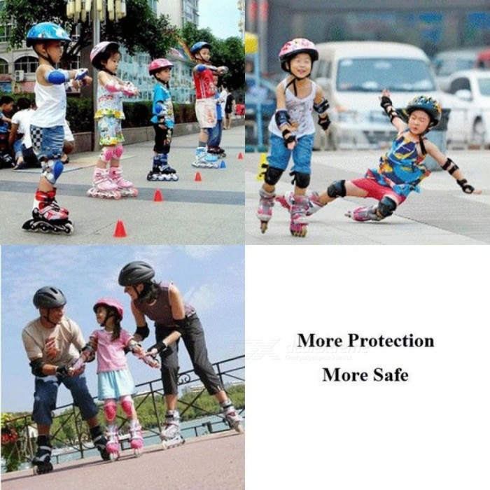 Skating Protective Gear Sets Elbow Knee Pads Wrist Protector Protection for Scooter Roller Skating Skateboard For Kid 6PCS/Set  Red