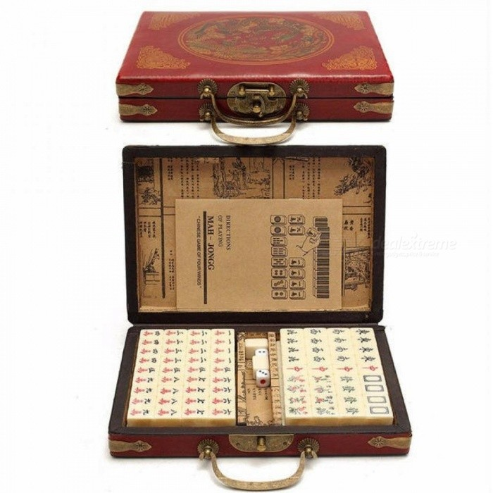 Card Games 144 Tiles Mah-Jong Set Multi-color Portable Vintage Mahjong Rare Chinese Toy With Bamboo Box Party Gifts Table Games