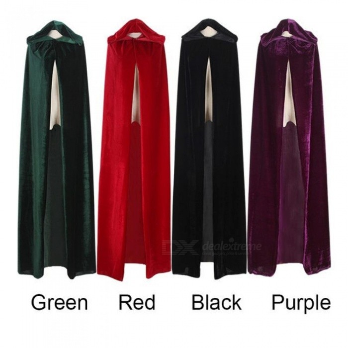 Buy Adult Witch Long Purple Green Red Black Halloween Cloaks Hood And Capes Halloween Costumes For Women Men Halloween/M/Black with Litecoins with Free Shipping on Gipsybee.com