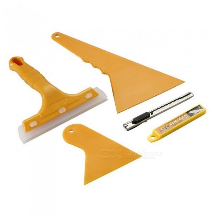 Auto-Car-Squeegee-Scraper-Vehicle-Vinyl-Film-Sticker-Installation-Tools-Kit-Vinyl-Cutter-Knife-Car-Styling-Accessories-5PCSSet-Yellow