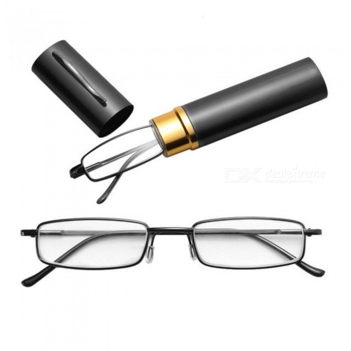 Buy Unisex Stainless Steel Frame Resin Reading Glasses 1.00-4.00 With Tube Case With Multi Color Optional For 1PC  Black/+100 with Litecoins with Free Shipping on Gipsybee.com