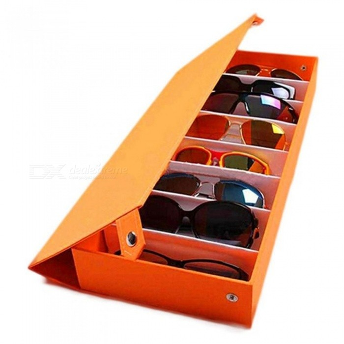 Buy 8 Grid Sunglass Glasses Storage Case Eyeglasses Display Glassware Box Tidy Tool Oxford Fabric With Wood Color Black with Litecoins with Free Shipping on Gipsybee.com