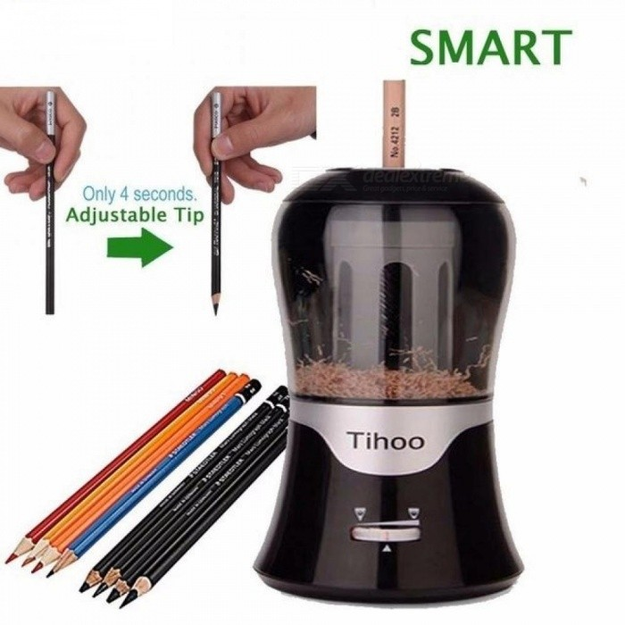 Adjustable-Lead-Thickness-Automatic-Electric-Pencil-Sharpener-With-Black-And-White-Color-For-Optional-Black