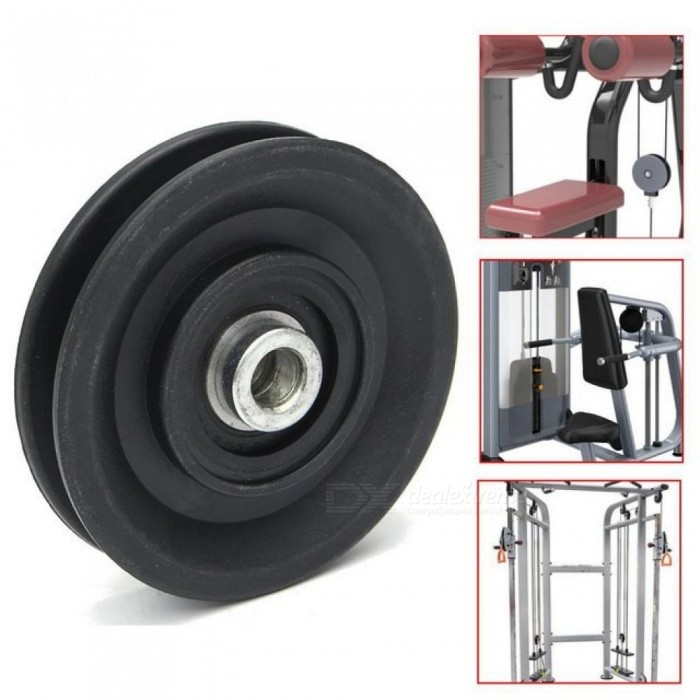 Bearing Pulley 90mm Wearproof Nylon Bearing Pulley Wheel Cable Gym Universal Fitness Equipment Part Black Black