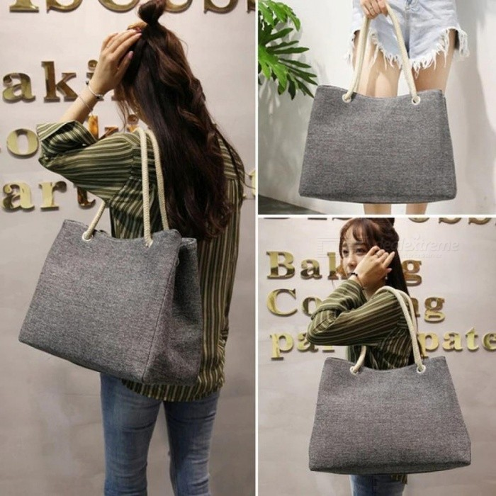 Fashion Women Linen Handbag Large Shopping Tote Holiday Big Basket Bags Summer Beach Bag Woven Beach Shoulder Bag Length 42CM