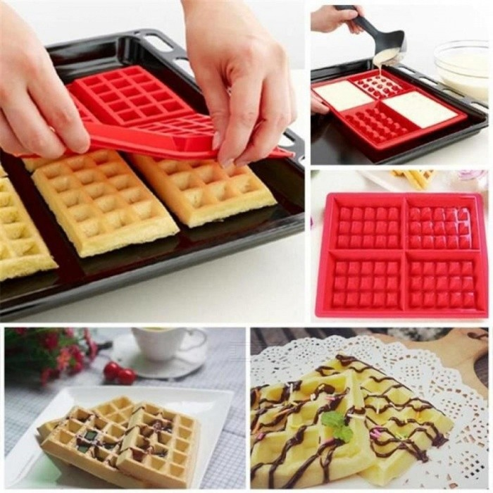 Silicone Waffle Mold Shape Forms 4-Cavity Silicone Oven Pan Microwave Baking Cookie Cake Muffin Cooking Tools Silicone