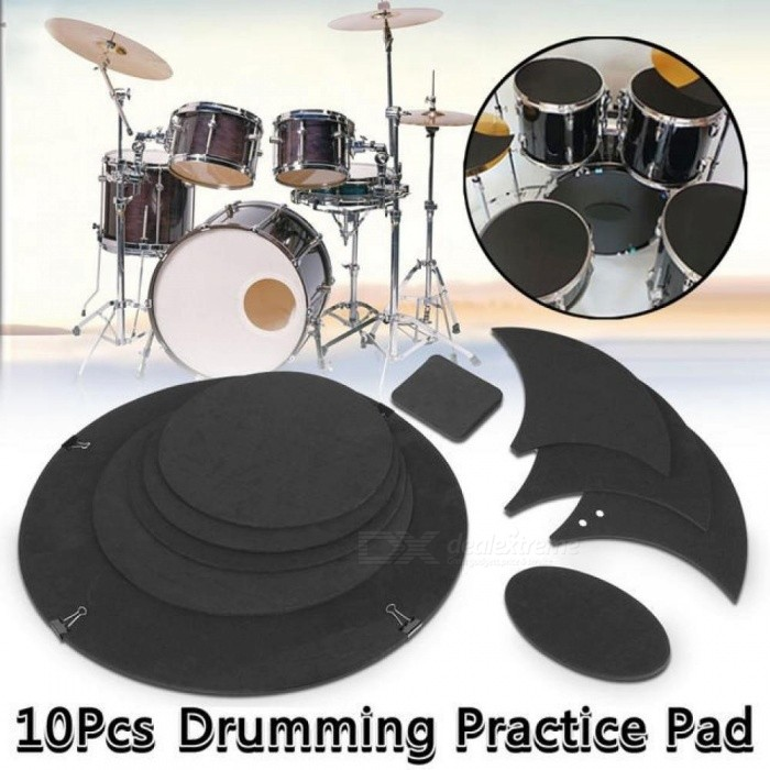 Rubber-Foam-Bass-Snare-Drum-Sound-Off-Mute-Silencer-Drumming-Rubber-Practice-Pad-Set-Percussion-Bass-Quiet-Drum-Tool-10PCS-10pcs