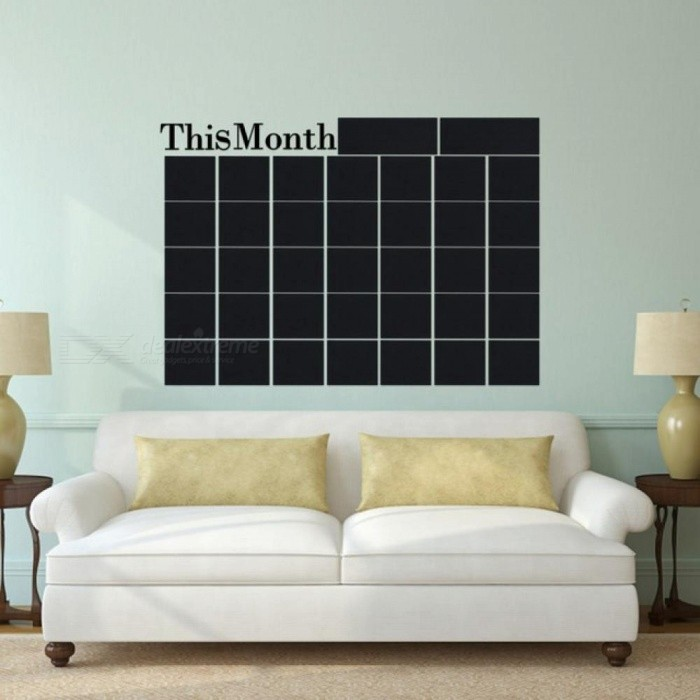 New Month Plan Calendar Monthly Wall  Chalkboard Blackboard Sticker Home Decals Desk School Stationery Office Supplies Sets Black
