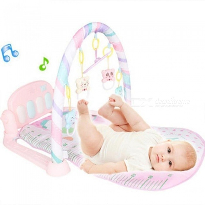 Infant Game Blanket Early Education Music Baby Activity Gym Newborn Remote Control Pedal Piano Baby Sleeping Play Crawling Mat Pink