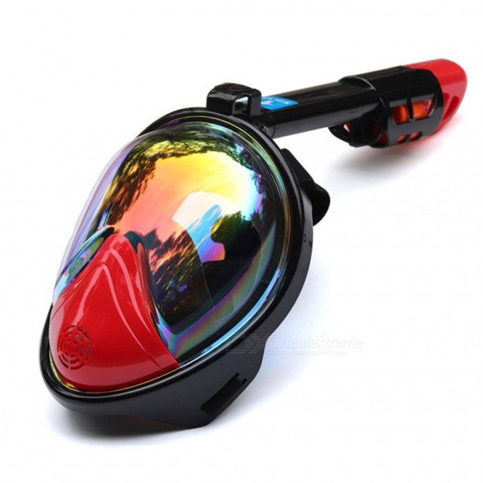 Diving Mask Underwater Scuba Anti Fog Full Face Diving Mask Snorkeling Set with Anti-skid Ring Snorkel S/M/Plated Red