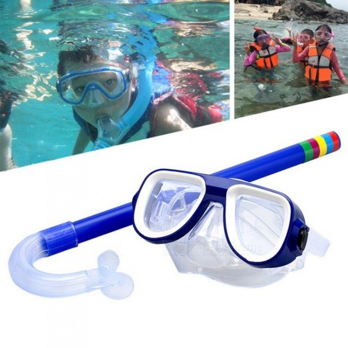 Buy Child Diving Snorkeling Mask Swimming Scuba Total Dry Snorkel and Mask Glass Lens PVC 4 Color Child Diving Glasses Yellow with Litecoins with Free Shipping on Gipsybee.com