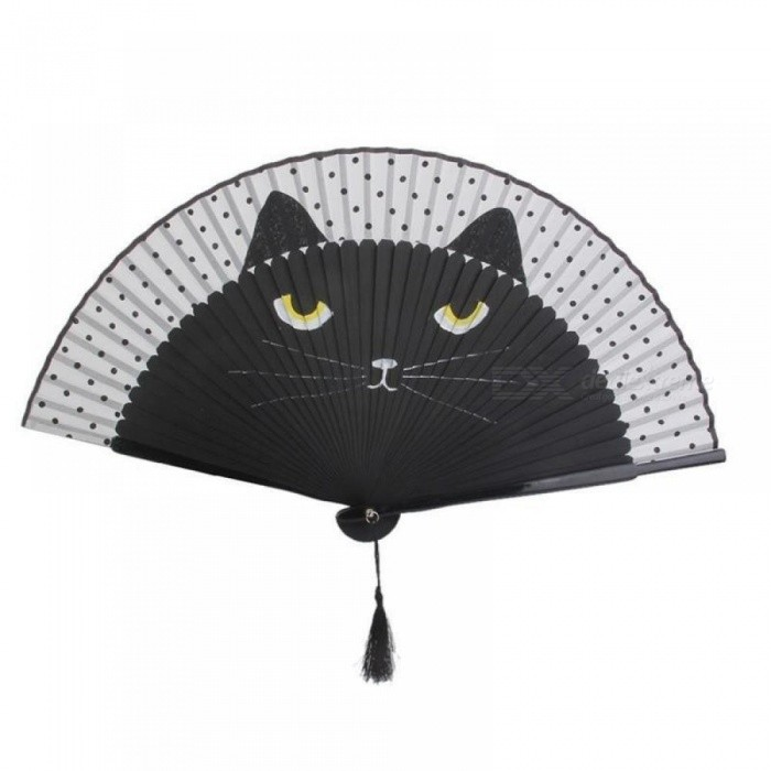 Summer Cute Cat Silk Bamboo Hand Painted Cartoon Cat Folding Fan Party Favors Coffee&Black Color Optional Coffee