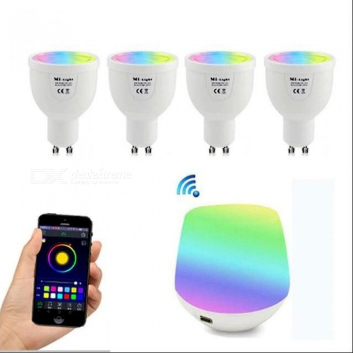 GU10 5W RGBW Lamp 85-265V LED Milight RGB Bulb Spotlight light + Wireless WiFi Remote Controller Box for Party Lighting 1Gu10 RGBWW