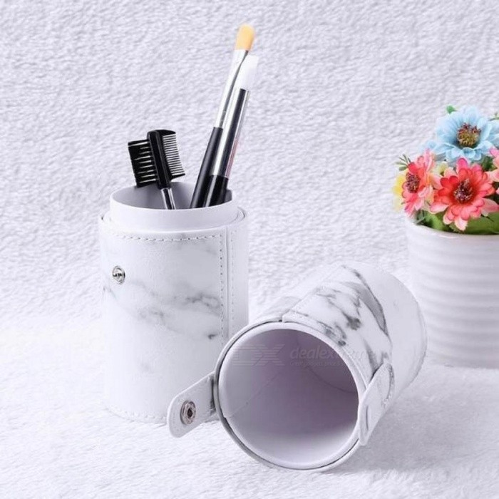 Portable Travel PU Marbling Makeup Brushes Holder Bag Empty Container Storage Cosmetics Brush Pen Brushes Organizer Makeup Tools L
