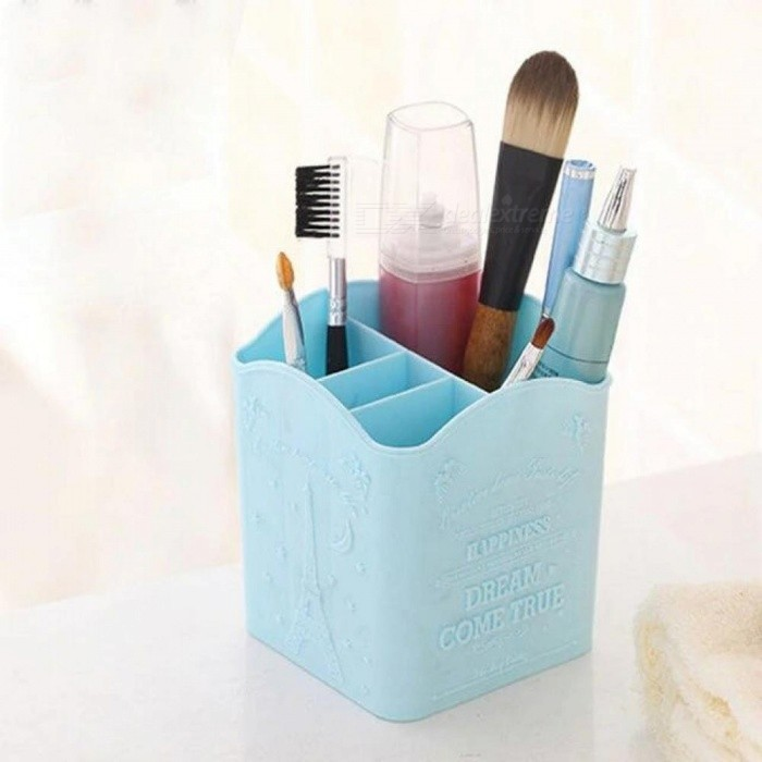 Cosmetic Brushes Pens Storage Holder Box 4 Compartments Tower Brush Organizer Makeup Table Box Cosmetic Case Accessories & Props Blue