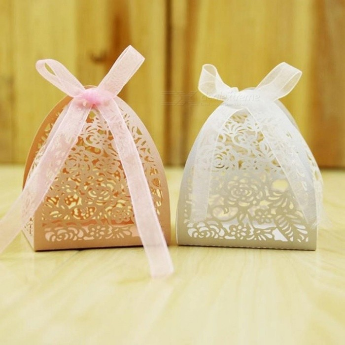 Lace Flower Design Laser Cutting Wedding Candy Box Gift For Guests Favors And