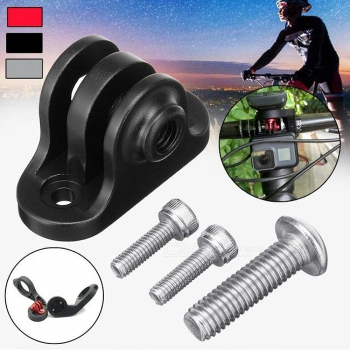 Image of Aluminium Handlebar Computer Camera Mount Adapter Holder Tripod With Screws for GoPro And For Garmin Edge / Bryton Computer Silver