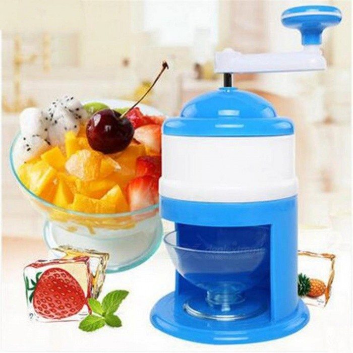 Manual Ice Crushers Shavers Home Use Manual Ice Chopper Smoothies Machine Plastic Manual Ice Crusher  Blue