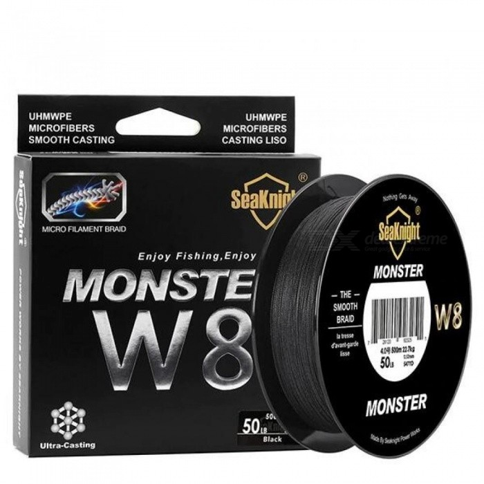 Monster W8 Braided Fishing Line 500M 8 Strands Wide Angle Tech Multifilament Braid PE Line Saltwater 15 20 30 50 100LB 0.8/Black
