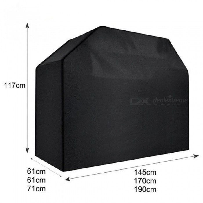 Waterproof BBQ Grill Black Cover Garden Patio Rain Anti Dust Proof Barbecue Party Protector Shield Black Color 145x117x61cm