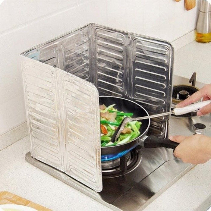 Kitchen Accessories Cooking Frying Pan Oil Splash Screen Cover Anti Splatter Shield Guard Oil Divider Silver