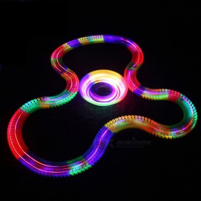 Miracle Glowing toy Racing Track Set Flexible Track Led Car Toy For Adult 100/165/220/240 pcs Racetrack + 1PCS LED Car 100pcs With 1 Car