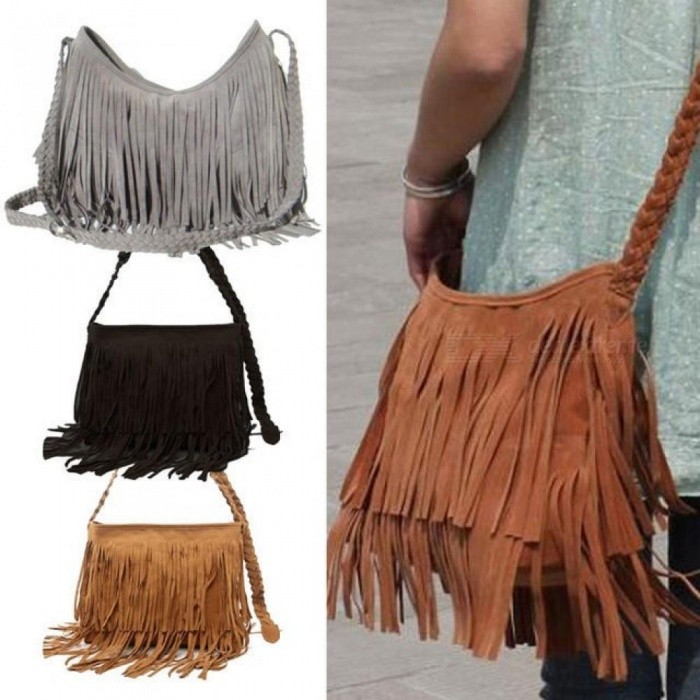 Fashion-Womens-Suede-Weave-Tassel-Shoulder-Bag-Messenger-Bag-Fringe-Handbags-With-MultiColors-For-Optional-Black