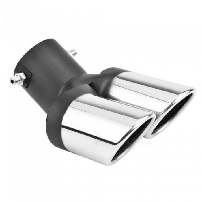 Universal-1-PCS-Car-Modification-Grilled-black-Stainless-Steel-To-2-Dual-Pipe-Exhaust-Pipe-Tip-Muffler-cover-Car-Styling-1pcs