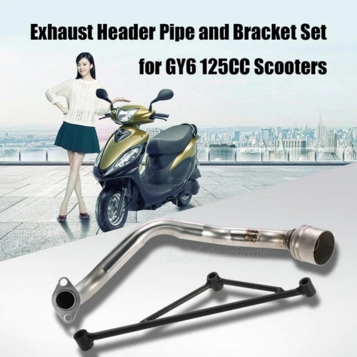 Exhaust-Pipe-Muffler-Header-with-Mounting-Bracket-Set-for-GY6-125CC-Engine-With-Silver-And-Black-Color-Bracket-Set
