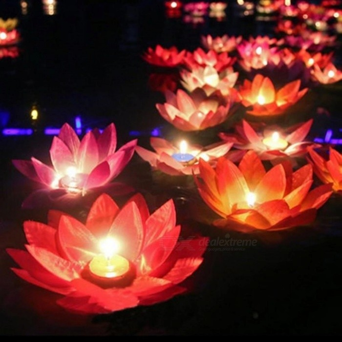 Multicolor Silk Lotus Lantern Light With Candle Floating Pool Decorations Wishing Lamp Birthday Wedding Party Decoration 10PCS Color Random