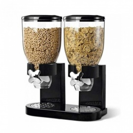 Multifunctional-Pasta-Cereal-Dry-Food-Dispenser-Storage-Container-Dispense-Household-Kitchen-Machine-Food-Storge-Bottles-double-cup-black