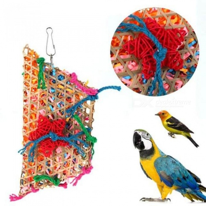 Bird Cage Colorful Bamboo Weave Swing Parrot Bird Parrot Vine Bite Swing Chew Climb Cage Accessories Cotton Rope parakeet Toys  (S)8x5cm