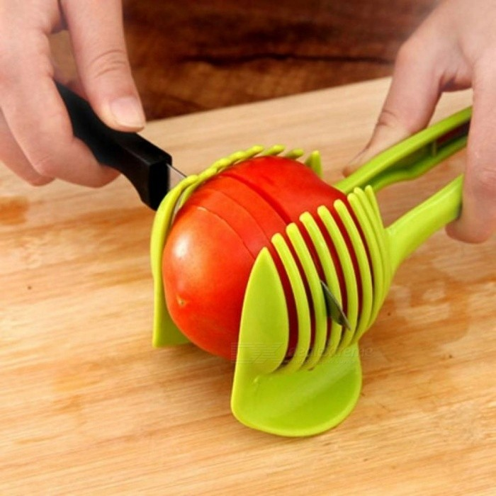 Hand-held Lemon Onion Tomato Fruit Slicer Chopper Cutter Food Clips Kitchen Cooking Tools Green Color Green
