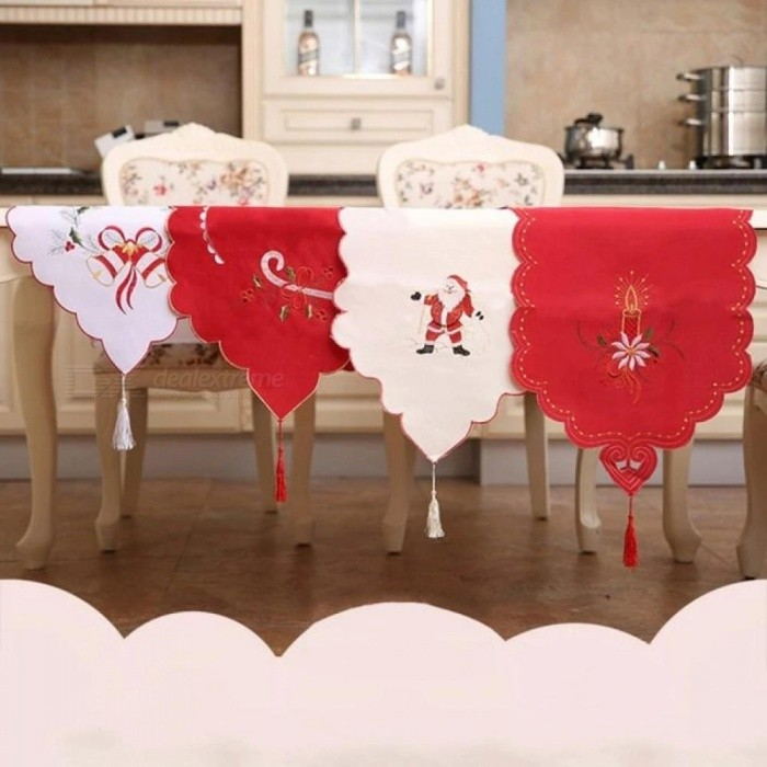 Christmas Table Satin Embroidery Tablecloth Creative Craftwork Placemat Red Table Flag Cloth Covers For Home Decor  Red for sale in Bitcoin, Litecoin, Ethereum, Bitcoin Cash with the best price and Free Shipping on Gipsybee.com
