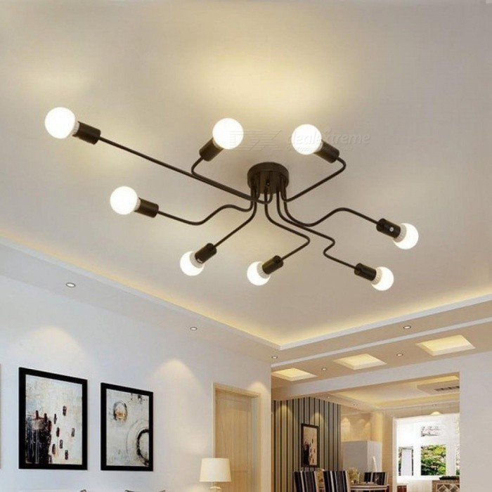 Modern Led Ceiling Chandelier Lighting Living Room Bedroom Chandeliers Creative Home Fixtures 4 Heads Black Worldwide Free Shipping Dx