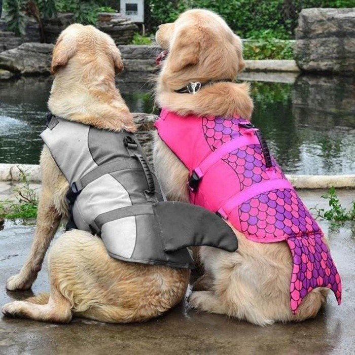 Life-Dog-Jacket-Gray-Shark-and-Duck-Design-Pet-Swimming-Vest-Waterproof-Nylon-Dog-Swimming-Clothes-Float-Dog-Vest-SGray