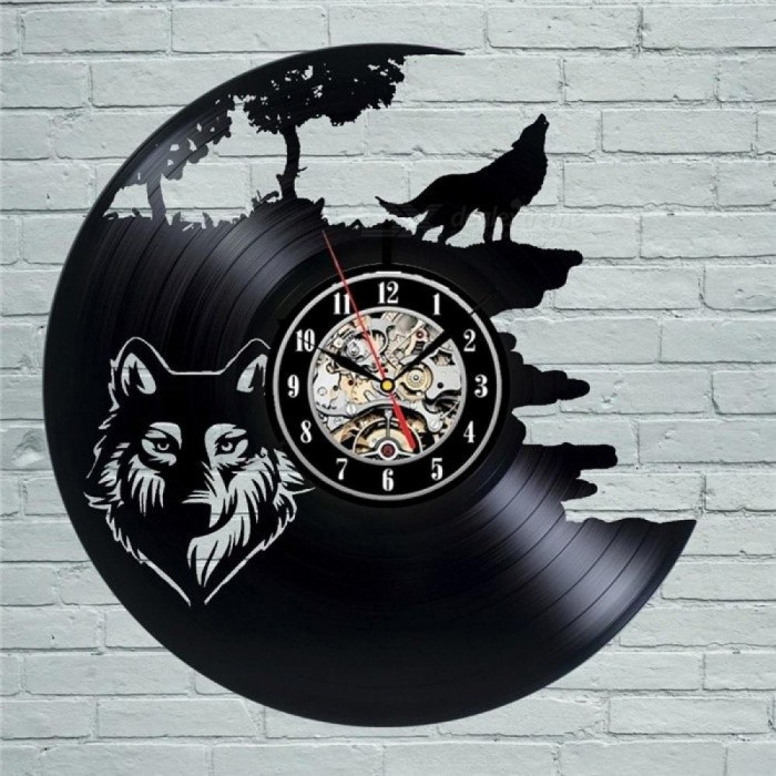 Wolf Pictures Vinyl Record Wall Clock Get Unique Bedroom Or Kitchen Decor Gift