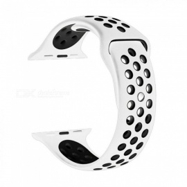 Colourful Soft Silicone Strap for Apple Watch Band 38mm 42mm Sports Rubber Bracelet Wrist Watch Straps for iWatch Series Small 38mm/White Black
