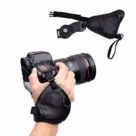 1PC Soft PU Leather Camera Bag Hand Grip Strap Camera Strap Wrist Triangle Belt for Canon for Nikon for Sony SLR/DSLR Camera Black
