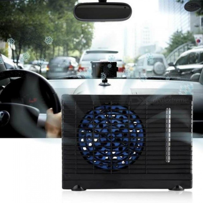 Portable 12V Mini Air Conditioner Evaporative Water Cooler Cooling Fan  Car Truck Home With Black Color Black