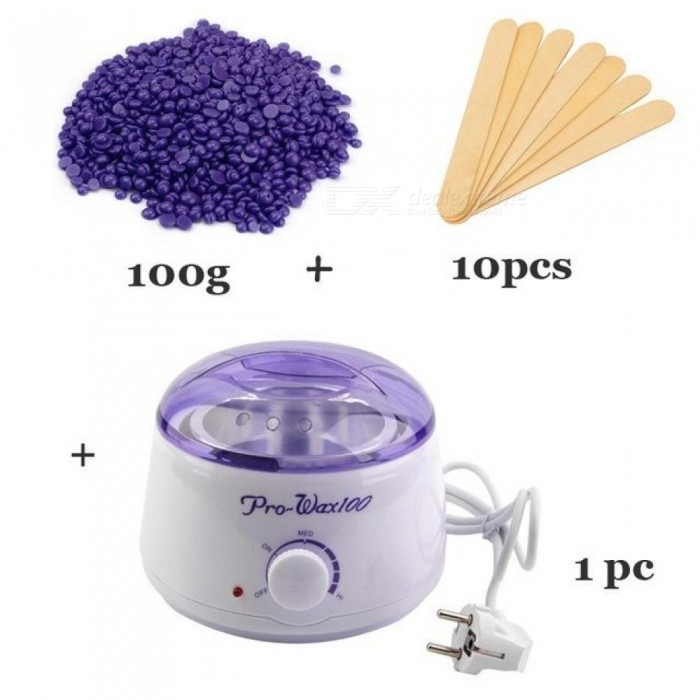Hair-Removal-Wax-Warmer-Wax-Heater-Pot-2b10-Wooden-Spatula-Sticks-100g-Wax-Beans-500ML-With-White-And-Purple-White