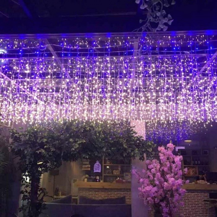 6m*1m Icicle LED Curtain Light Fairy Holiday Garland String Lights For Wedding Christmas Party Festival Outside Decoration JQ  6m x 1m 256 LEDs/Blue