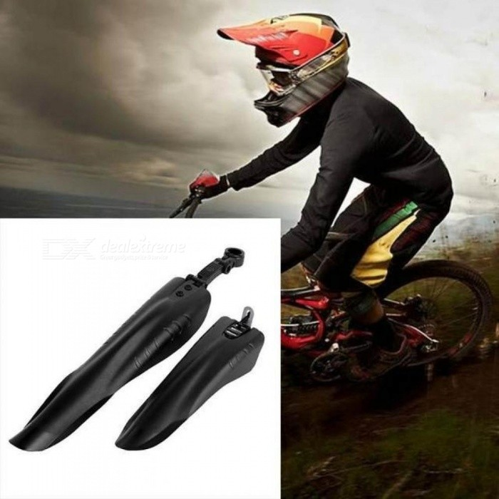 2PCS/Set  Bicycle Front Rear Fenders MTB Mountain Road Bike Mudguard Mud Removable Guards Wings Tube Keeps Cleaner Black